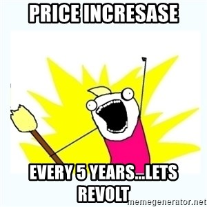 All the things - pRICE INCRESASE EVERY 5 YEARS...LETS REVOLT