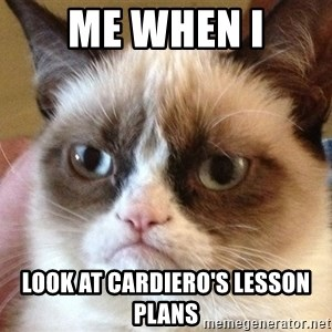 Angry Cat Meme - Me when I look at Cardiero's lesson plans
