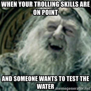 you have no power here - When your trolling skills are on point  and someone wants to test the water
