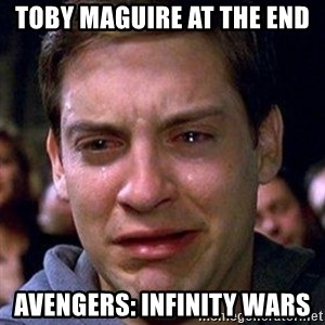 spiderman cry - Toby Maguire at the end Avengers: Infinity Wars