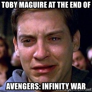 spiderman cry - Toby Maguire at the end of Avengers: Infinity War