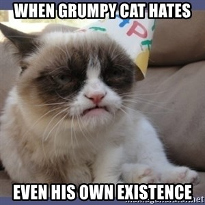 Birthday Grumpy Cat - when grumpy cat hates even his own existence