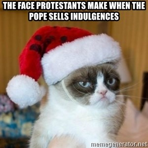 Grumpy Cat Santa Hat - the face Protestants make when the pope sells indulgences