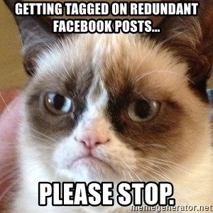 Angry Cat Meme - Getting tagged on redundant Facebook posts... Please stop.