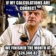 Doc Back to the future - If my calculations are correct  We finished the month at $24,300.82