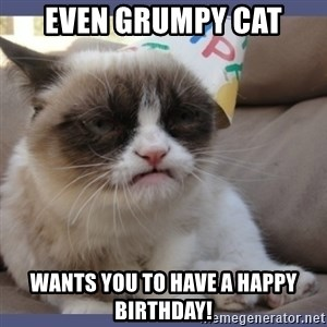 Birthday Grumpy Cat - EVEN GRUMPY CAT WANTS YOU TO HAVE A HAPPY BIRTHDAY!