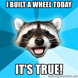 Lame Pun Coon - I BUILT A WHEEL TODAY IT'S TRUE!