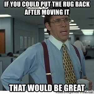 That would be great - If you could put the rug back after moving it that would be great