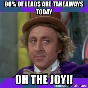 Sarcastic Wonka - 90% of leads are takeaways today Oh the joy!!