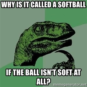 Philosoraptor - Why is it called a softball if the ball isn't soft at all?