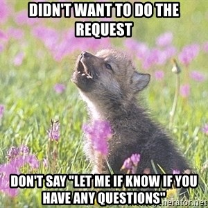"""Baby Insanity Wolf - didn't want to do the request Don't say """"let me if know if you have any questions"""""""