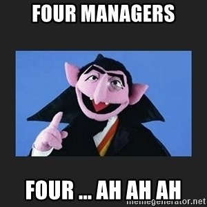 The Count from Sesame Street - four managers four ... ah ah ah