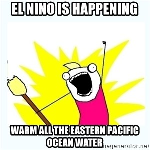 All the things - El Nino is happening Warm all the eastern Pacific ocean water