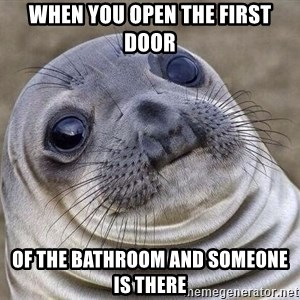 Awkward Seal - when you open the first door of the bathroom and someone is there