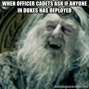 you have no power here - When Officer cadets ask if anyone in dukes has deployed
