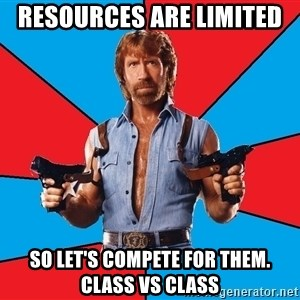 Chuck Norris  - Resources are limited  So let's compete for them. class vs Class