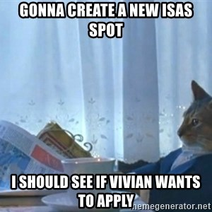 newspaper cat realization - GONNA CREATE A NEW ISAS SPOT I SHOULD SEE IF VIVIAN WANTS TO APPLY