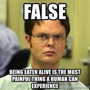 False Dwight - FALSE Being eaten alive is the most painful thing a human can experience