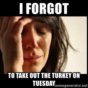 First World Problems - I forgot to take out the turkey on Tuesday