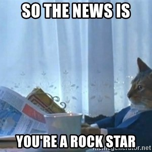 newspaper cat realization - So the news is  You're a rock star
