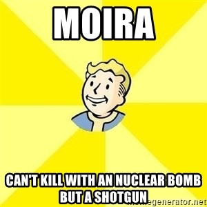 Fallout 3 - Moira Can't kill with an nuclear bomb but a shotgun