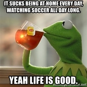 Kermit The Frog Drinking Tea - It sucks being at home every day,  watching soccer all day long. Yeah life is good.