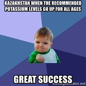 Success Kid - kazakhstan when the recommended potassium levels go up for all ages Great Success