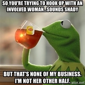 Kermit The Frog Drinking Tea - So you're trying to hook up with an involved woman...sounds shady But that's none of my business. I'm not her other half.