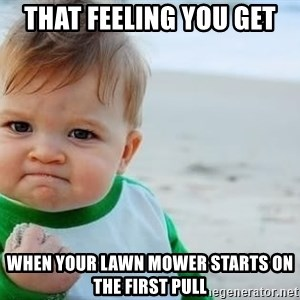 fist pump baby - That feeling you get When your lawn mower starts on the first pull
