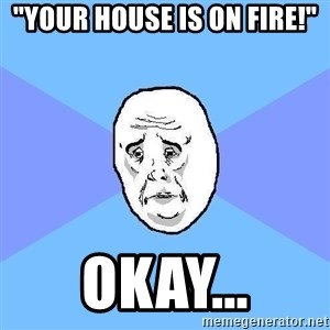 "Okay Guy - ""Your house is on fire!"" okay..."