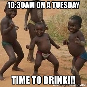 Dancing African Kid - 10:30am on a tuesday Time to drink!!!