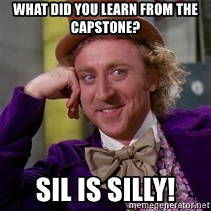 Willy Wonka - What did you learn from the capstone? sil is silly!