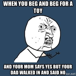 Y U No - When you beg and beg for a toy And your mom says yes but your dad walked in and said no