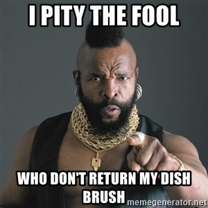 Mr T Fool - I PITY THE FOOL WHO DON'T RETURN MY DISH BRUSH