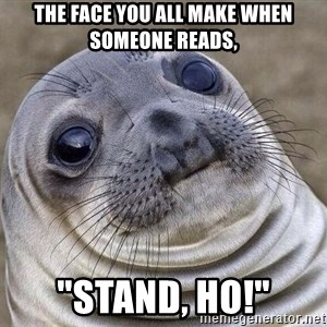 "Awkward Seal - The face you all make when someone reads, ""Stand, Ho!"""