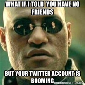What If I Told You - what if i told  you have no friends but your twitter account is booming