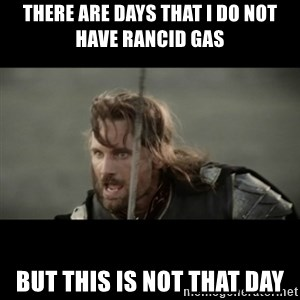 But it is not this Day ARAGORN - There are days that I do not have rancid gas But this is not that day