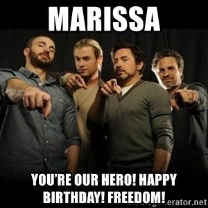 avengers pointing - Marissa You're our hero! Happy Birthday! FREEDOM!