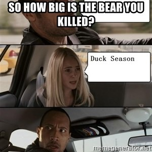 The Rock driving - So how big is the bear you killed?