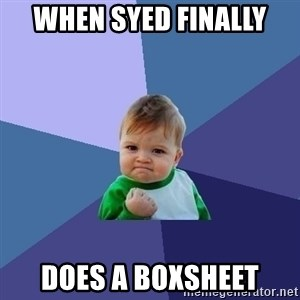 Success Kid - When Syed finally Does a BoxSheet