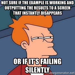Futurama Fry - not sure if the example is working and outputting the results to a screen that instantly disappears or if it's failing silently