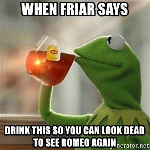 Kermit The Frog Drinking Tea - When Friar says Drink this so you can look dead to see Romeo again