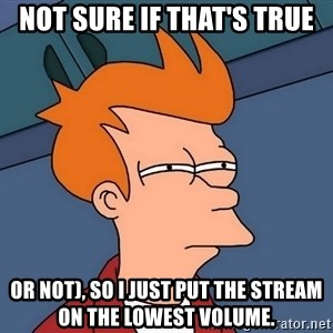 Futurama Fry - not sure if that's true or not), so i just put the stream on the lowest volume.