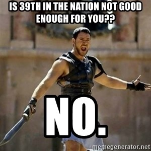 GLADIATOR - Is 39th in the nation not good enough for you?? NO.