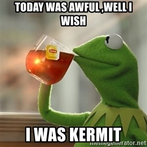 Kermit The Frog Drinking Tea - Today was awful ,well I wish I was kermit