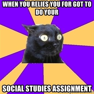 Anxiety Cat - When you relies you for got to do your Social Studies assignment