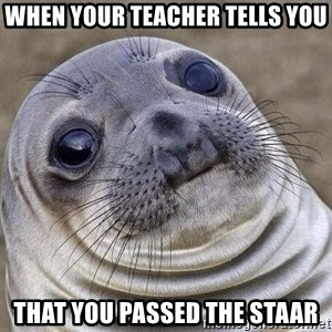 Awkward Seal - when your teacher tells you that you passed the STAAR
