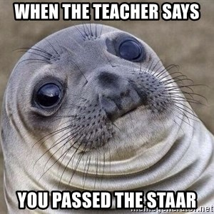Awkward Seal - when the teacher says you passed the STAAR