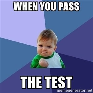 Success Kid - when you pass  the test