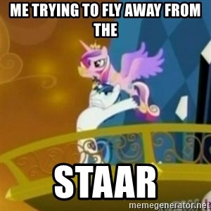 Shining Armor throwing Cadence - me trying to fly away from the staar